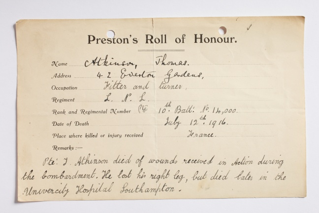 Preston's Roll of Honour forms, collected during and after the First World War for a temporary memorial on the ground floor of the Harris Library, Museum & Art Gallery and then for the final Roll of Honour on the Harris staircase, completed in 1927.